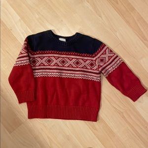 Boys 2T thick sweater brick red white grey & blue